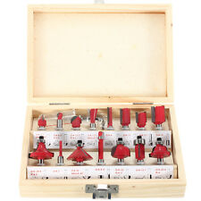 15PC 1/4'' Tungsten Professional Shank Carbide Router Bit Set Wood Case Box