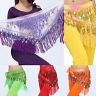 Chiffon Belly Dance Performance Hip Scarf 2 Rows Coin Fringe Belt Skirt New H66