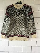 VINTAGE RETRO AZTEC 90'S GRANNY KNIT PURE NEW WOOL NORWEGIAN JUMPER MEDIUM #4