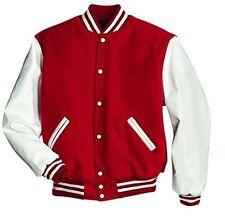 American Windhound College Jacke rot mit weißen Echtleder Ärmel M