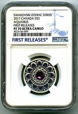 2017 CANADA $3 SILVER PROOF NGC PF70 AQUARIUS ZODIAC SERIES MADE W CRYSTAL