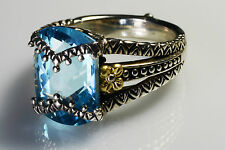 BARBARA BIXBY Sterling Silver 18K Gold Signature Flower Blue Topaz RING 10
