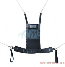 Leather Adult Guy, Couple Sex Sling Swing with Cushion & Stirrups