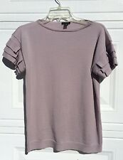 Ann Taylor Top Medium Lavender 100% Extra Fine Merino Wool Ruffle Short Sleeve