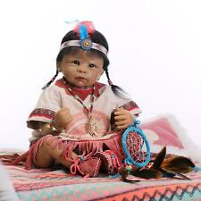 Nicery Reborn Baby Indian Doll Silicone Black Skin 22in. 55cm Girl Toy NPK