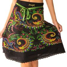 Beautiful Desigual Mila Black Skirt With Colourful Floral Pattern Size XL