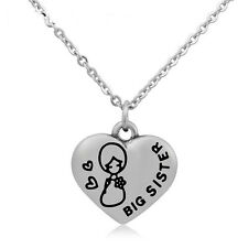316 Stainless Steel Heart Pendant Necklace Engraved 'Big Sister' Sisters Gift