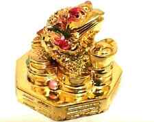 GOLD Feng Shui Oriental Lucky Money Frog Toad w.Bagua  Attract Wealth #SM