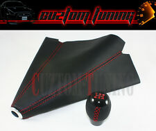 TOYOTA AE86 COROLLA MR2 BLK LEATHER 5 SPEED SHIFT KNOB+ SHIFT BOOT W/ RED STITCH