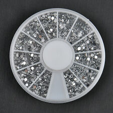2400PCS Nail Art 1.5mm Rhinestones Glitter Diamond Gems 3D Tips Decoration Wheel