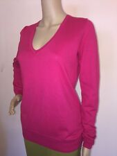 MINT!   J.CREW    SZ S  Hot Pink  Cotton  Sweater V-Neck  Pullover Top