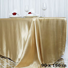 "1 pc Champagne 90x156"" RECTANGLE Satin TABLECLOTH Wedding Party Banquet Linens"