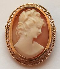 14 K BEAUTIFUL VINTAGE YELLOW GOLD CARVED LADY CAMEO PIN/PENDANT/BROOCH