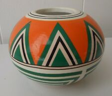 OLD MEXICAN ART POTTERY VASE VINTAGE  American Bowl Orange Black White Geometric