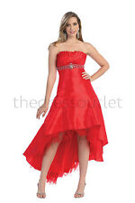 Gorgeous Sexy Long Strapless Red High Low Prom Dress