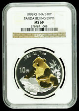 1998 Panda NGC MS69 Beijing Coin Expo China Silver 1oz 10 Yuan Gold Gilded Rare