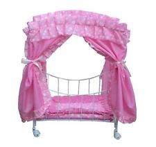 My fancy doll bed with swivel wheels basket doll crib color pink