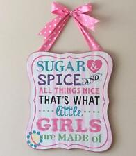 Large Baby Girl Retro Wall Plaque With Ribbon - Sugar and Spice 68422