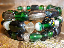 Hand Crafted GREEN Memory Wire Wrap BRACELET Glass BEAD Beach Gypsy D-59