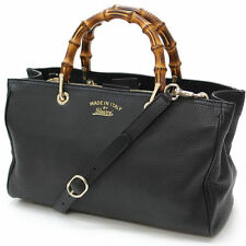 Gucci Bamboo Convertible Shopper Black Cellarius Leather Tote Handbag 323660 NWT