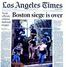 Boston Marathon Bombings Newspaper Los Angeles Times 4/20/2013 Bomber Terrorists