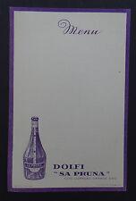MENU DOLFI SA PRUNA curacao liqueur ALSACE vierge French card restaurant vintage