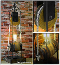 Vintage Wooden, Wheel Pulley, Rope, Upcycled Wine Barrel, Edison Industrial Lamp