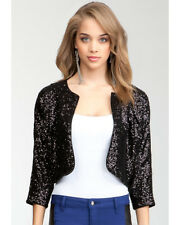 BEBE Black Sequin Cropped Jacket/ Shrug XXS