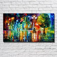 Hand Painted Abstract Oil Painting On Canvas:city night in the rain(with framed)