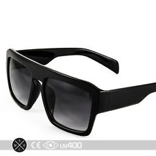 Black Flat Top Sunglasses Hipster Stylish Block Large Glasses Free Case S067