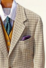 Byblos 40R Gentleman's Soft Tan Wool/Cashmere Houndstooth Sport Coat Italy
