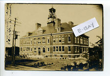 Webster MA Mass RPPC real photo 1905 High School, clock tower
