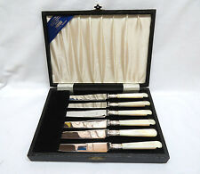 6 Viners England Sterling Silver & Genuine Mother of Pearl Fruit Knives in Box