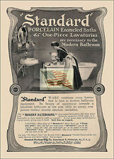REPRINT PICTURE of old STANDARD PORCELAIN BATHROOM ad MAID CLEANING A 5x7