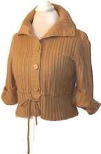 It's Our Time Beige/Tan Button-Front Cropped, w/ Tie Sweater. Size XL