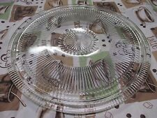 "Round Vintage Footed Glass Cake Plate Platter Tray Kromex 12.5"" In USA Starburst"
