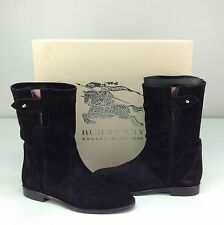 Burberry Lyndhurst House Check Black Suede Flat Boot Size 7 EU 37 Outdoors