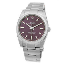 ROLEX Stainless Steel 34mm Oyster Perpetual RED GRAPE Dial 114200 UNWORN 2016