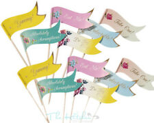 24x Alice in Wonderland Style Canape / Cake Food Flags Vintage Wedding Party