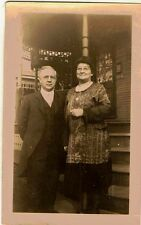Old Antique Vintage Photograph Well Dressed Man and Woman On Front Porch