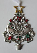 MD For unto us a Child is born ORNAMENT Christmas Wishes Tree Ganz car charm