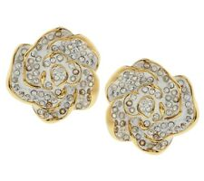 Joan Rivers Jeweled Flowers White Gardenia Clip-On Earrings
