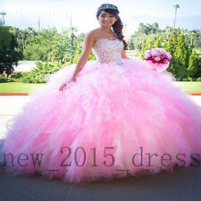 Strapless Pink Sweet 16 Prom Dresses Beaded Ball Gown Quinceanera Formal Dresses