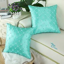2Pcs Turquoise Cushion Cover Pillows Shell Floral Diamond Embroidered Chain 45cm