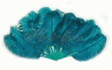 "single layer teal Ostrich Feather Fan Burlesque belly friend 25""x45"" gift box"