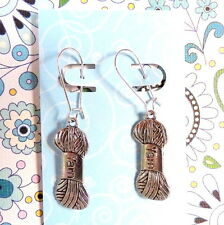 Yarn Skein Knitter Knitting Theme Earrings on Silver Kidney Wires
