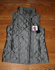 NWT Womens ANDREW MARC Quilted Vest GREY Oversized Collar Size S Small