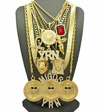 MIGOSYRN,MEDUSA,JESUS,ANKH,ANGEL,RUBY,HERRINGBONE CHAIN 9 Necklace Set RC1520G