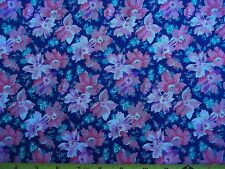 Blue Purple Bright Pink Floral 50/50 Cotton Poly 45 inches wide x 1 yd. 28 inch