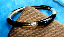 14K YELLOW GOLD & BLACK JADE BANGLE BRACELET